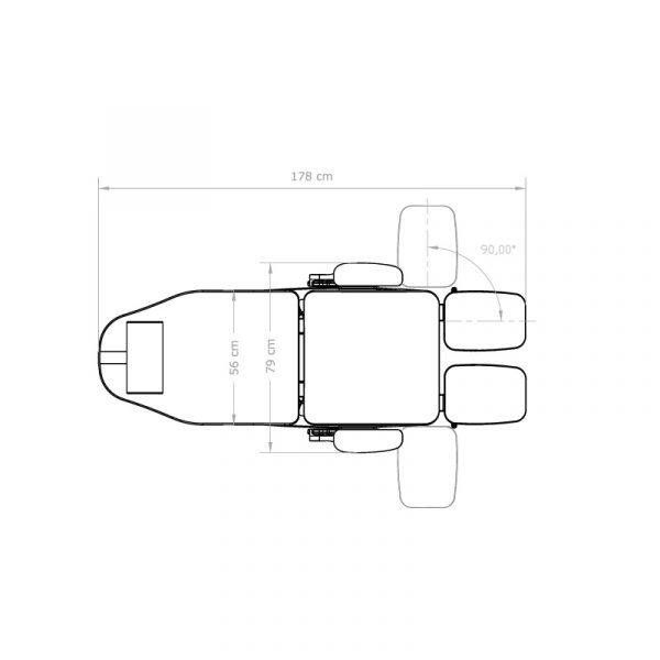 Skizze Fußpflegestuhl Kingston von oben